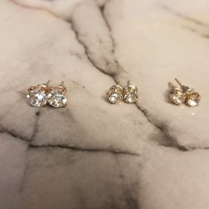 Jewelry - Gold Rhinestone Stud Earrings